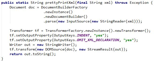 Java Pretty Print Xml String Debugging Life